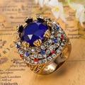 From Turkey Royal Rhinestone Ring Colares Bijuterias Best Women Vintage Aneis Ouro collar Femininos The Rings Resin Turkish ring