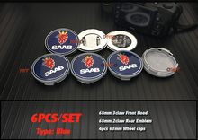 Car Accessorie 6PCS/SET Wheel Center Cap Rim Hub BLUE Emblem Auto Styling front rear 68MM For saab 9-3 9-5 93 95 BJ S 60mm