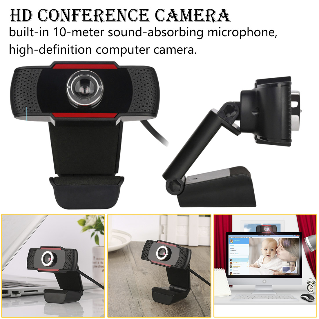 US $9 42 18% OFF|Rotatable USB Web Cam Webcam HD 12 0MP PC Camera with  Absorption Microphone MIC for Skype for Android TV Computer Camera-in  Webcams