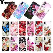 6dccb17d93a Yinuoda para iphone 7 6 X caso mariposa roja en blanco rosas flor teléfono funda  para