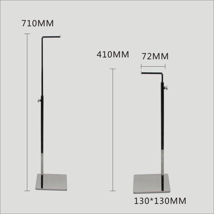 Hot Sale Fashion 7-type Mirro Stainless Steel Metal Bags Display Rack Adjustable Handbag Display Stand Holder Wig Hanging Stand