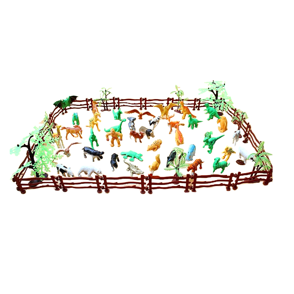 68pcs Plastic Realistic Wildlife Jungle Forest Animals Action Figure Toys Playset in Fence w/ Tree Kid Toddler Toys Collectibles