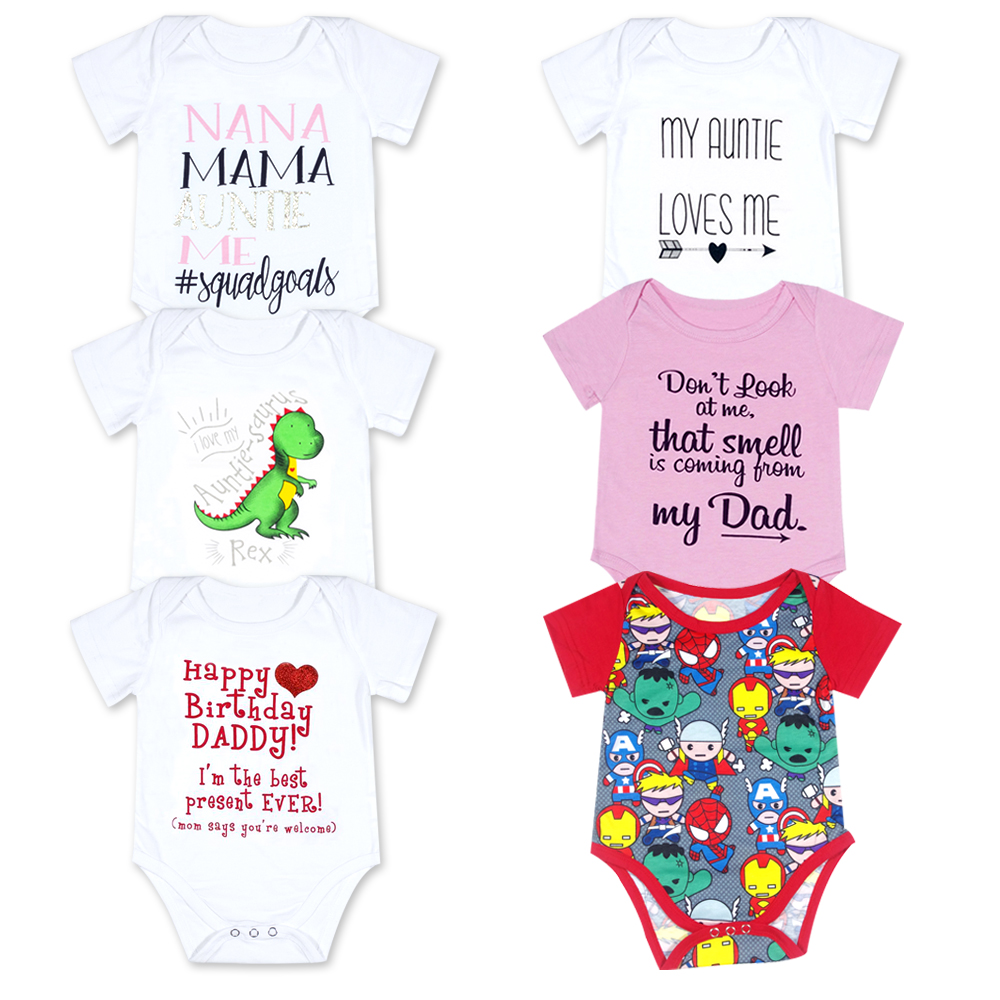 2018 Newborn Happy Birthday Daddy White Short Sleeves Baby Girls Full Bodysuits Clothes Jumpsuits Overalls Onesie In From Mother Kids On