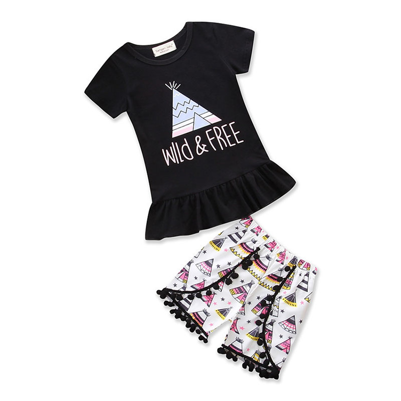 Toddler Kid Baby Girl Clothes Ruffle T-Shirt Tops Floral Shorts 2Pcs Outfits Set