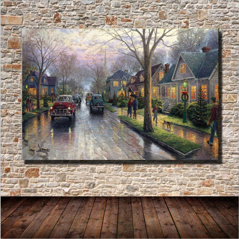 Hot Sale Street Landscape Canvas Printing Wall Art Home Decoration Oil Paintings On Canvas Unframed