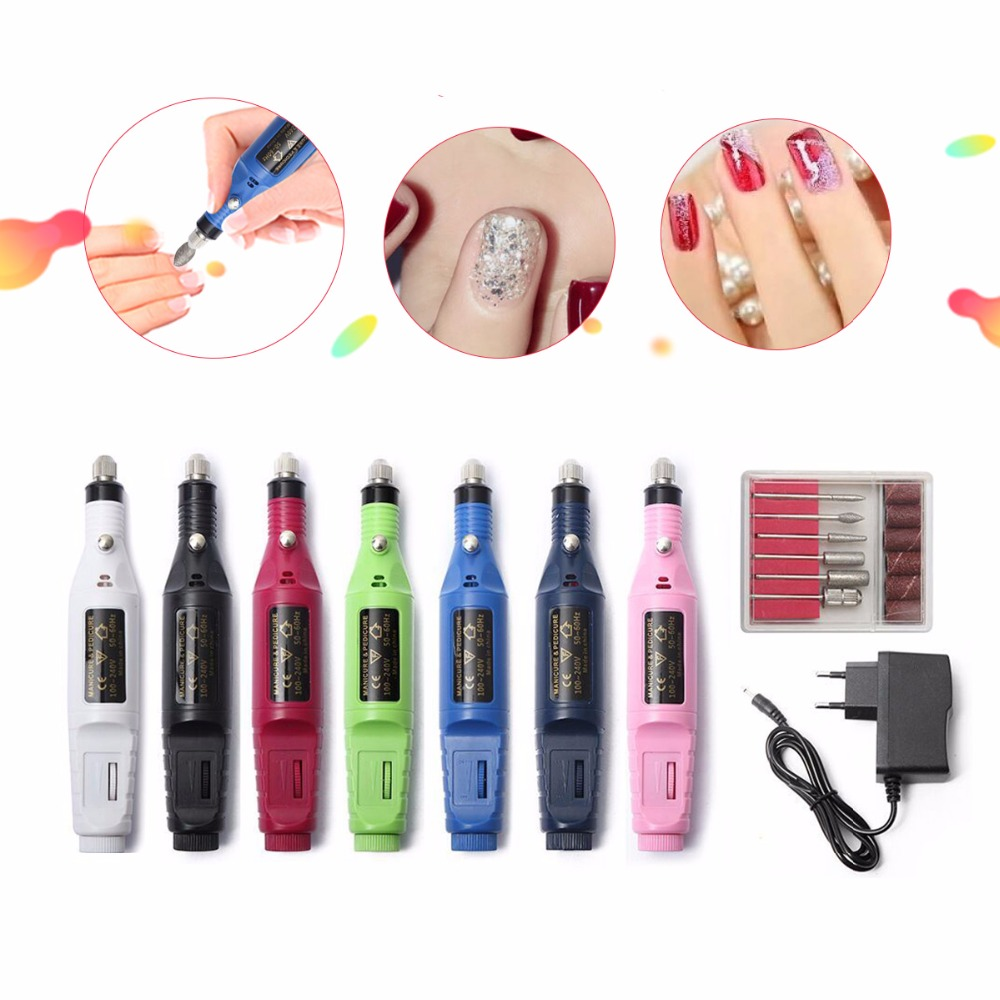 1set 6bits Power Drill Professional Manicure Machine Nail Electric Drill Pen Pedicure File Polish Shape Tool Feet Care Product