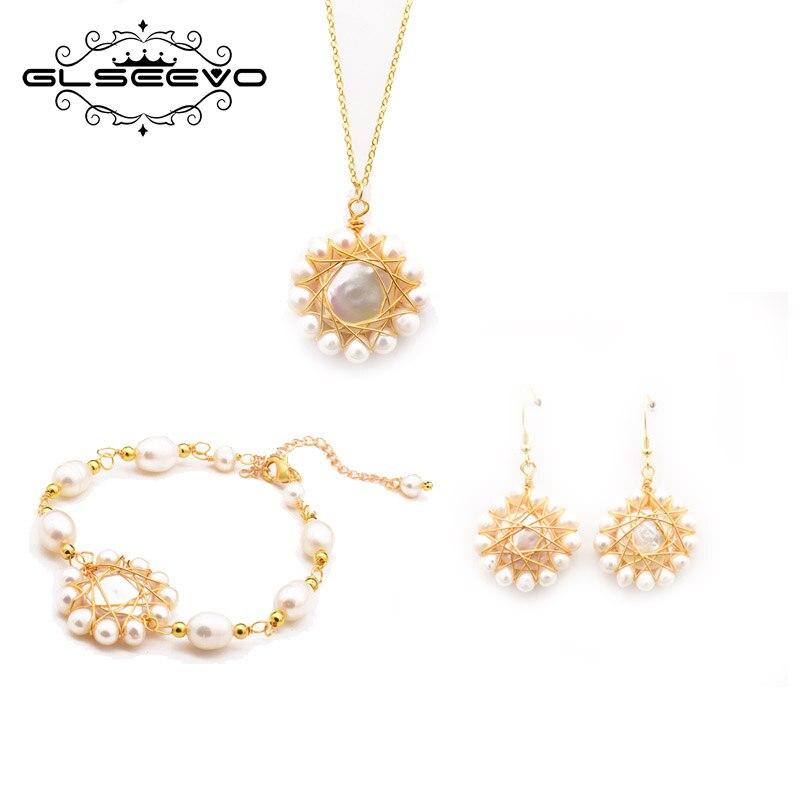 GLSEEVO naturel Baroque perle pendentif collier Bracelets boucles d'oreilles pour femmes fille mariage fiançailles Fine bijoux ensembles GS0012