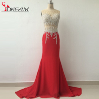 Red Mermaid Evening Prom Dress 2016 Abendkleid Sexy See Through Top Heavy Beads Luxury Long Women Party Gowns Real Image