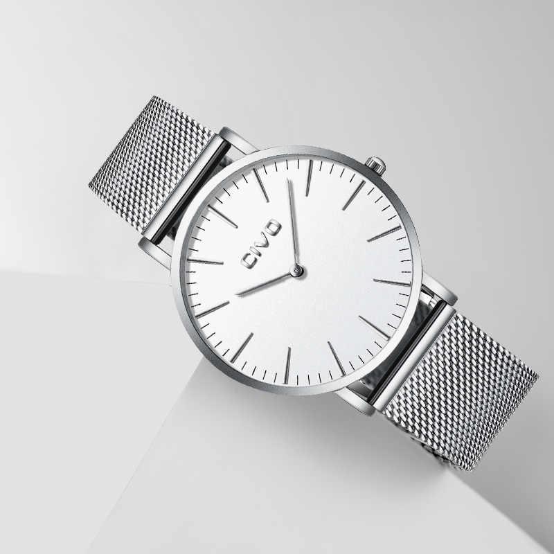 Relojes CIVO para hombre con correa de malla de acero inoxidable resistente al agua relojes para hombre Simple ultrafino 6 MM reloj de pulsera de plata para el estudiante