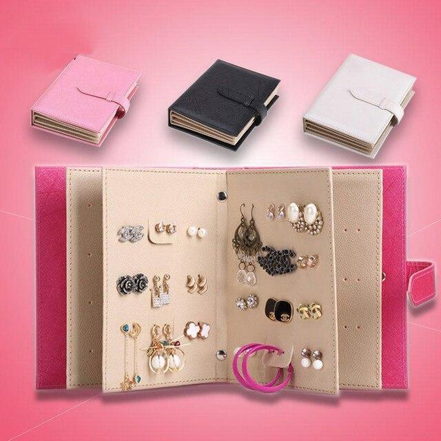 2017 Storage Earring Book Portable Show Creative Jewelry Pu Leather Box Organize Maquillage Boite