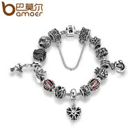 BAMOER Antique Silver Plated Openwork Snowflake Heart Pendant Anchor Safety Chain Bracelets Bangles Jewelry Accessories PA1507
