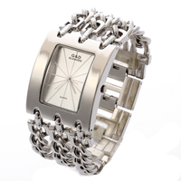 G D Women Silver Triple Chain Stainless Steel Band Women S Luxury Bracelet Watch Fashion Quartz