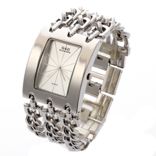G&D women silver triple Chain Stainless Steel band women's Luxury bracelet watch fashion quartz analog wrist watches