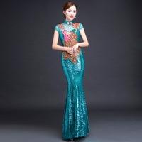 Bride Cheongsam Long Modern Qipao Lace Sexy Green Chinese Oriental Style Dresses Traditional Wedding Dress Women Fashion S 3XL
