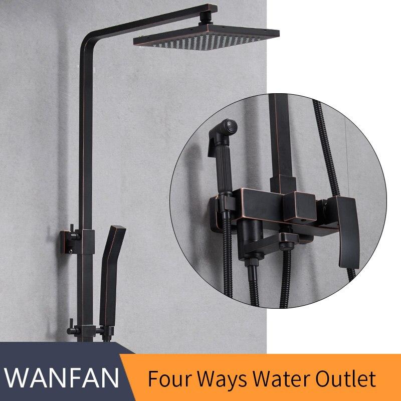 Robinets de douche en laiton noir robinet de baignoire Tube carré mitigeur haut douche de pluie avec barre coulissante robinet mitigeur d'eau mural 9235R