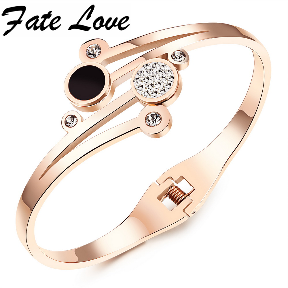 Fate Love New Design Rose Gold Color Stainless Steel CZ Bracelets Cuff Bangle For Women Lady Open Bangle Best Jewelry Gift FL836 gold open cuff bracelets for women bijoux jewelry