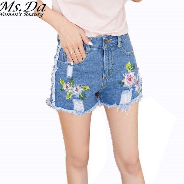 Короткие Джинсы 2016 Летние женщины короткие джинсовые шорты torn sexy vintage кисточки цветок вышивка случайные горячие шорты femininos femme