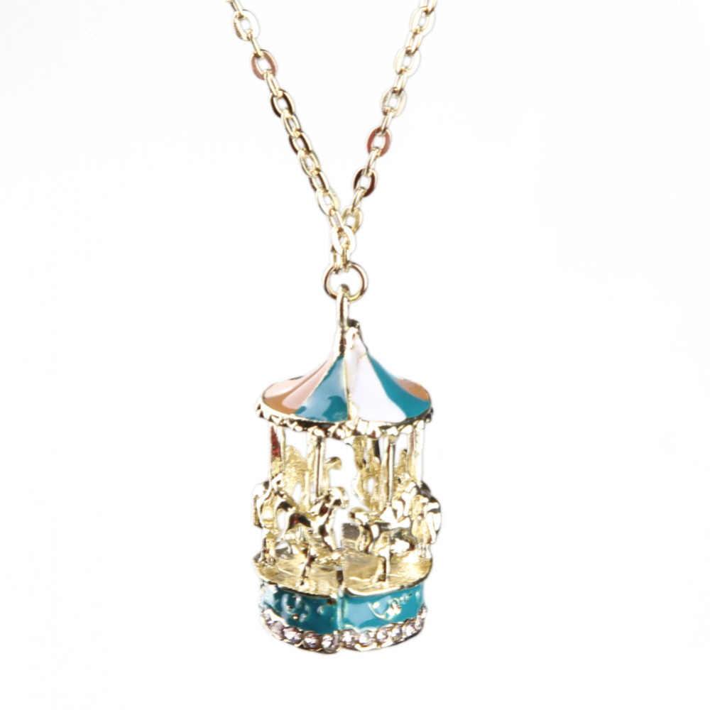 Urocza biżuteria dodatki karuzela w kształcie długiej kroplówki naszyjnik ze stopu sweter wiszący łańcuszek wysyłka