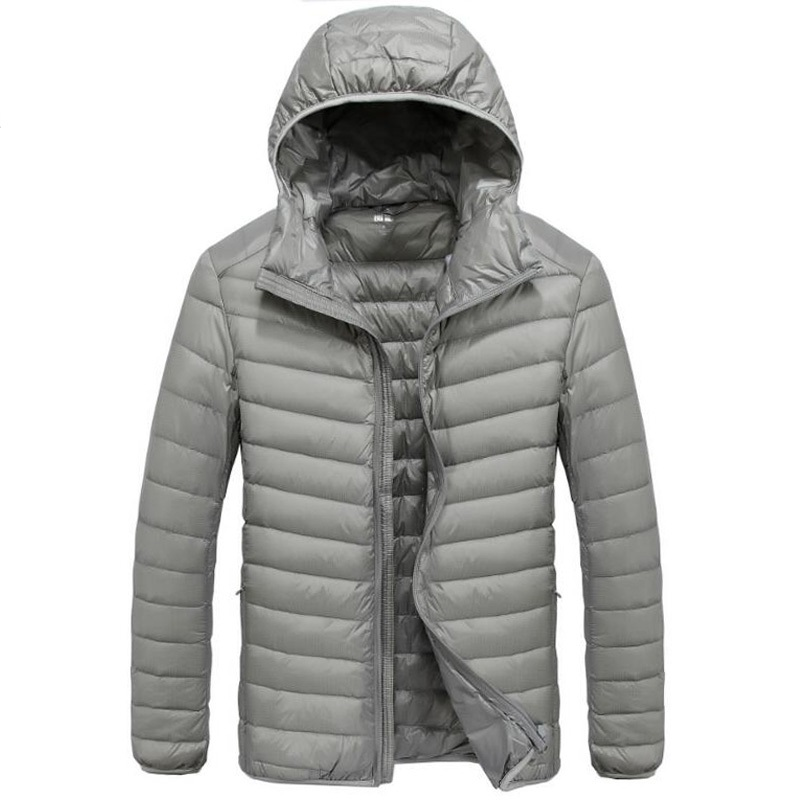 New Brand Mens   Down   Parka Jackets And   Coats   Casual Hooded Collar Lightweight Men Windbreaker Warm Solid   Down     Coat   Male