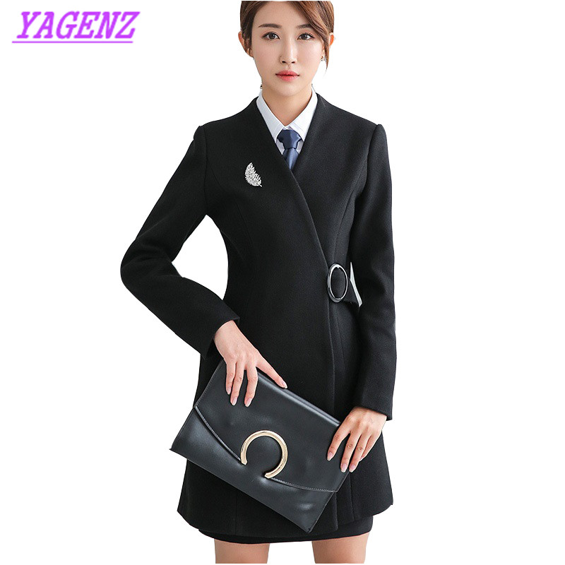 YAGENZ Autumn Winter Woolen Jacket Women Slim Long Wool coat Professional women Fashion style High quality Black Overalls B438