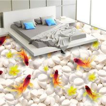 Custom 3D Floor Mural Wallpaper Swimming Goldfish