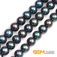 Black with Peacock Green luster Round Cultured Freshwater Pearls Beads Natural Pearls DIY Beads For Jewelry Making Strand 15