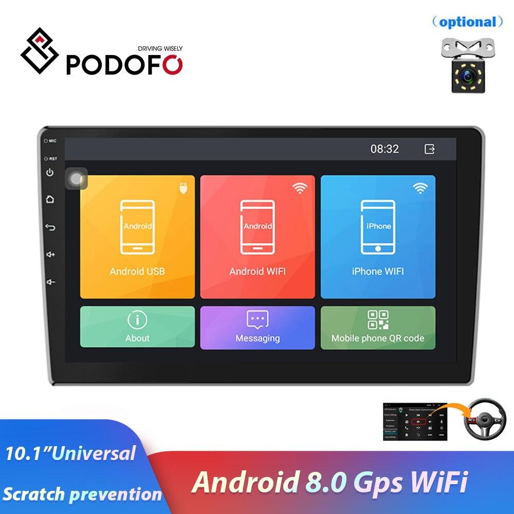 Podofo 2 Din 10 1 car radio Android 8 0 HD1080P 1 16gROM GPS navigation WiFi
