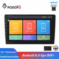 Podofo 2 Din 10.1 '' car radio Android 8.0 HD1080P 1+16gROM GPS navigation WiFi ISO Android link for universal Car stereo Audio