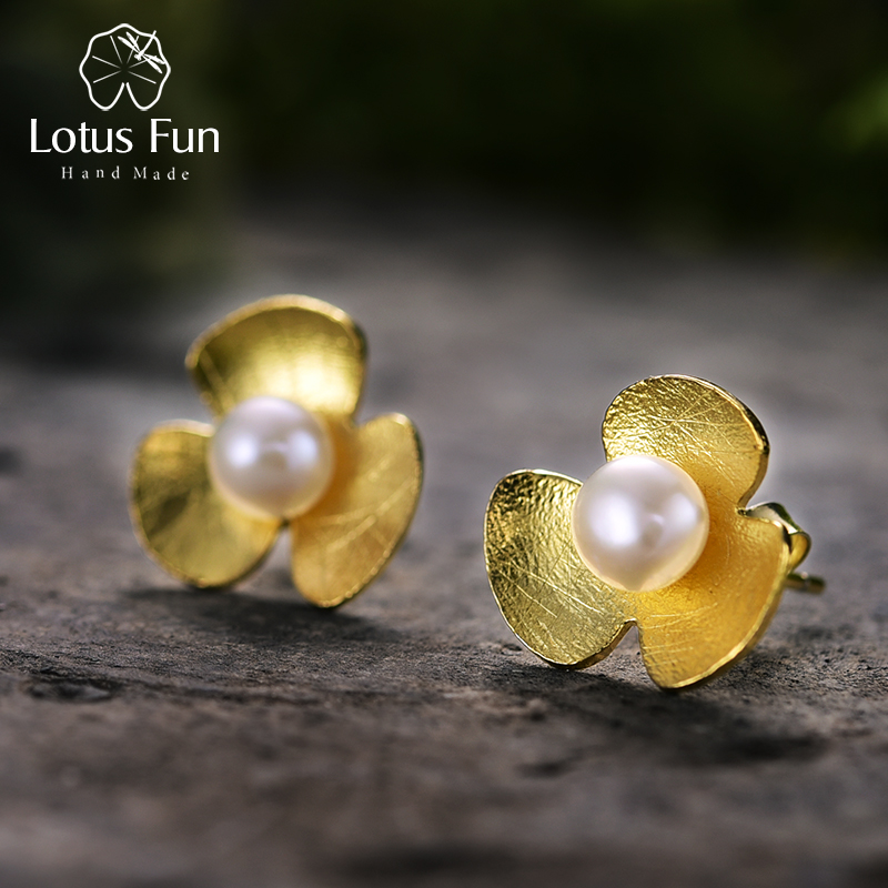 Lotus Fun Real 925 Sterling Silver Natural Pearl Handmade Fine Jewelry Fresh Clover Flower Stud Earrings for Women Brincos pair of stylish rhinestone clover stud earrings for women