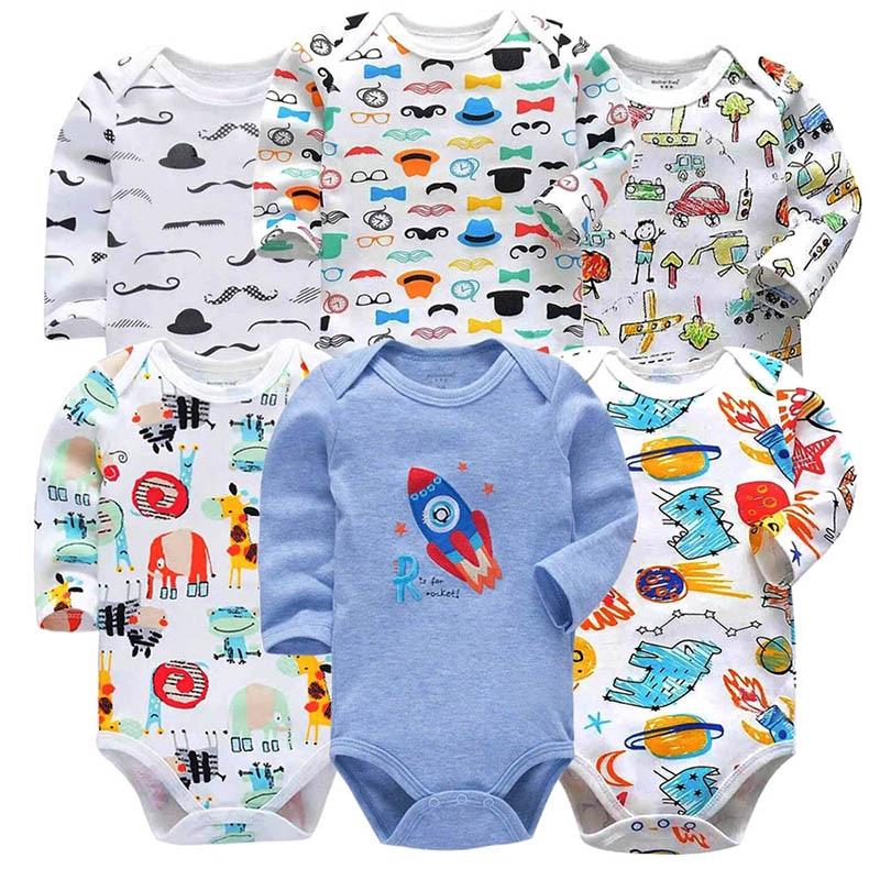 6PCS/LOT 100% Cotton Baby Bodysuits Unisex Infant Jumpsuit Fashion Baby Boys Girls Clothes Long Sleeve Newborn Baby Clothing Set