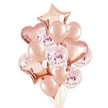 14pcs Rose Gold Confetti Latex Balloons Set Star Heart Shape Foil Balloon Birthday Party Decoration Wedding Inflatable Air Ball wedding inflatabe star inflatable lighted stars for party decoration