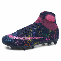 Outdoor Non slip Football Boots Long Spikes & Short Spikes Ankle High Top Soccer Shoes Turf Futsal Original Football Shoes 45
