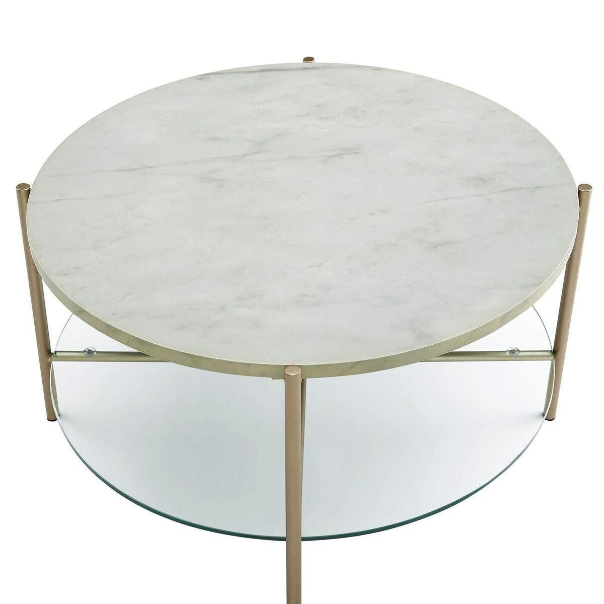 We Furniture 32 Round Coffee Table White Marble Top Glass Shelf Gold Legs Coffee Tables Aliexpress