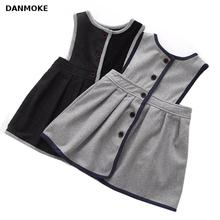 Retail Girl's Winter Wool Dress Grey Black Button Tank Dress For Girls Elegant Fall Garments Girls Dress Christmas Gift