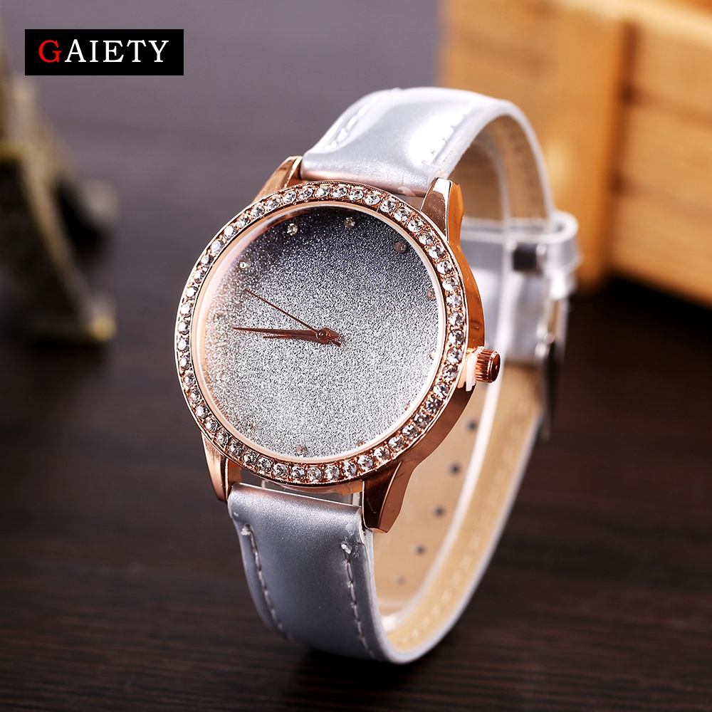 2017 GAIETY New Brand Fashion Women Watches Rose Gradient Color Dial Leather Band Dress Elegant Ladies Quartz Wrist Sport Watch