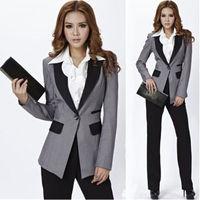 Grey Jacket+Black Pants Women Ladies Business Office Tuxedos Work Wear New Suits