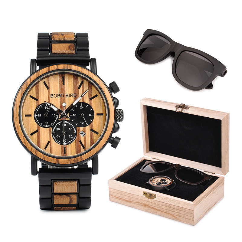 BOBO BIRD Polarized Sunglasses UV400 Metal Wood Men Watch Chronograph Wristwatch Calendar Timepiece Logo CustomizeBOBO BIRD Polarized Sunglasses UV400 Metal Wood Men Watch Chronograph Wristwatch Calendar Timepiece Logo Customize