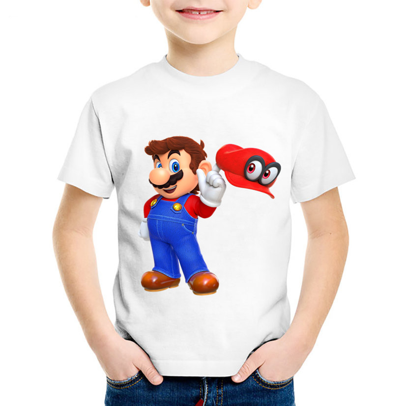 Children Cartoon Print Dabbing Super Mario Funny T shirt Kids Summer T shirts Boys/Girls Tops Baby Cute Clothes,HKP5141