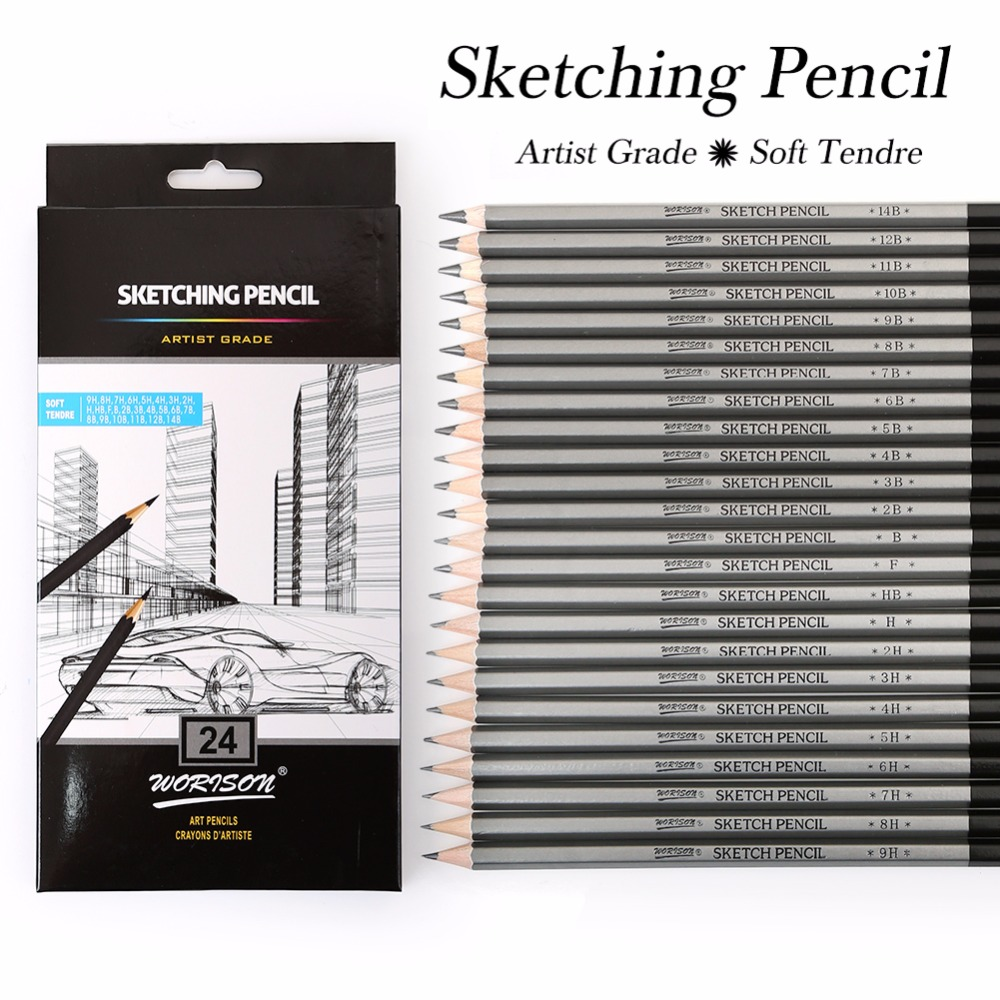 Best Quality 12/24Pcs 9H-14B Set Drawing Sketching Pencil Soft Safe Non-toxic Standard Pencils Professional Office School Pencil