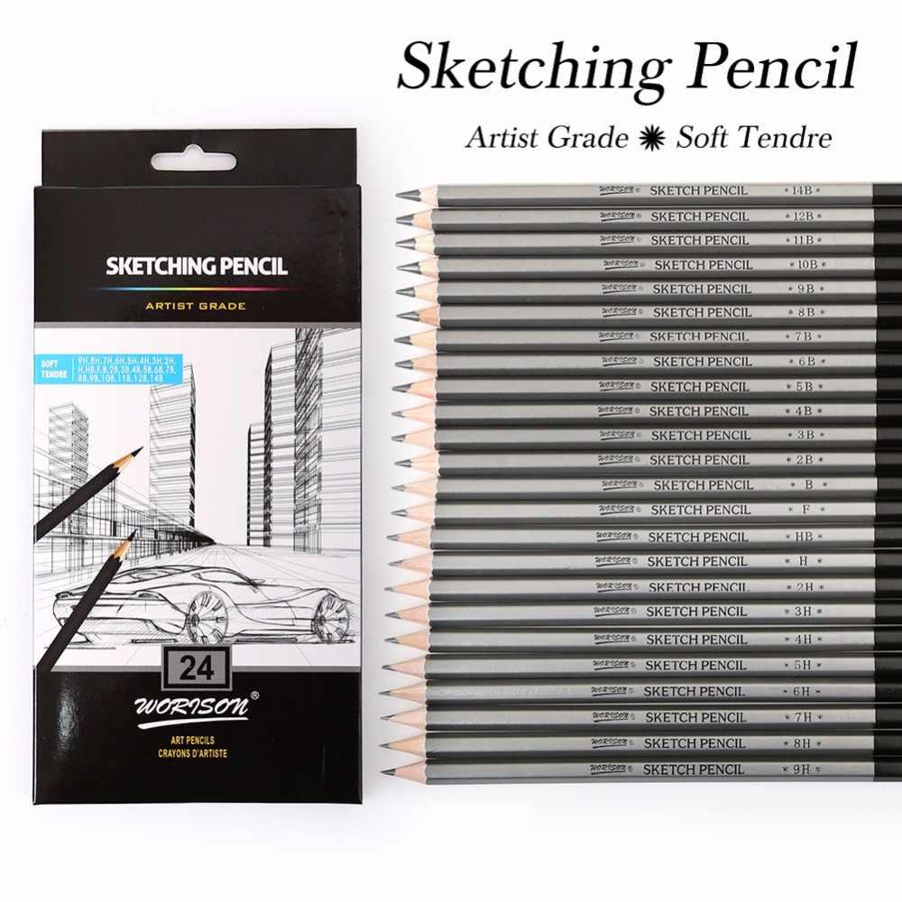 Best quality 12 24pcs 9h 14b set drawing sketching pencil soft safe non