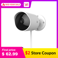 YI Outdoor Security Camera Cloud Cam Wireless IP 1080p Resolution Waterproof Night Vision Security Surveillance System White Surveillance Cameras