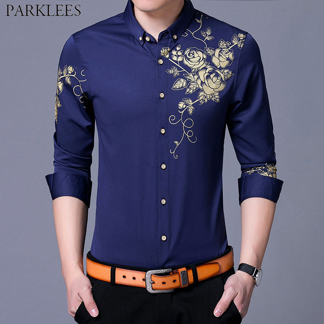 e609627b044 Trend Royal Blue Shirt Men 2018 Stylish Golden Flower Print Mens Slim Fit Long  Sleeve Button Down Dress Shirts Chemise Homme 3XL