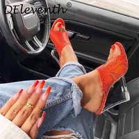Deleventh Sandals for Women Red Green Snakeskin high heeled Shoes Summer Sandals sexy Elegant woman fashion Wedges shoes