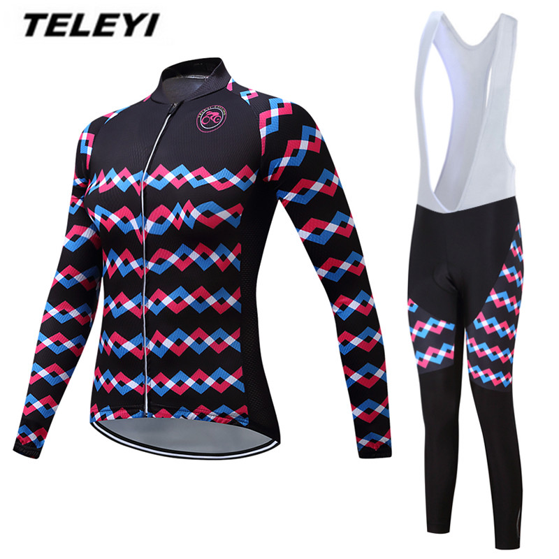 TELEYI 2017 MTB Bike jersey Bib Pants Set Women Cycling clothing Suit Ropa Ciclismo trouser Riding Long Sleeve Shirts Breathable