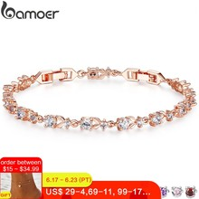 BAMOER 6 Colors Luxury Rose Gold Color Chain Link Bracelet for Women Ladies Shining AAA Cubic Zircon Crystal Jewelry JIB013(China)