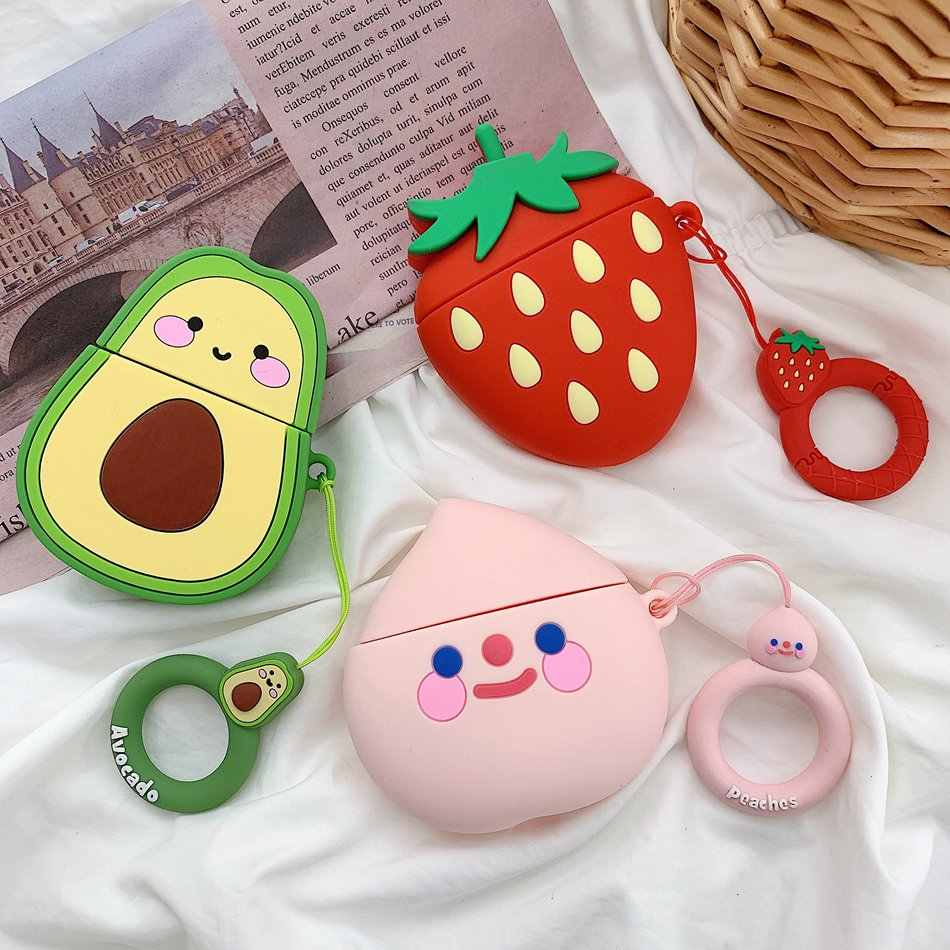 For Airpods Case Cute Cartoon Earphone Cases For Apple Airpods 2 Fruit Strawberry Peach Cover For Earpods Earbuds Ring Strap