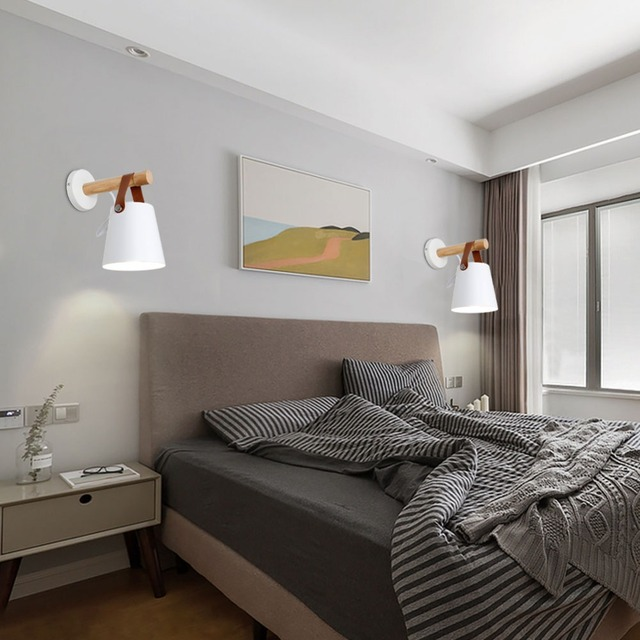 LED Wall Light Wood Wall Lamp Bed Bedside Light  3