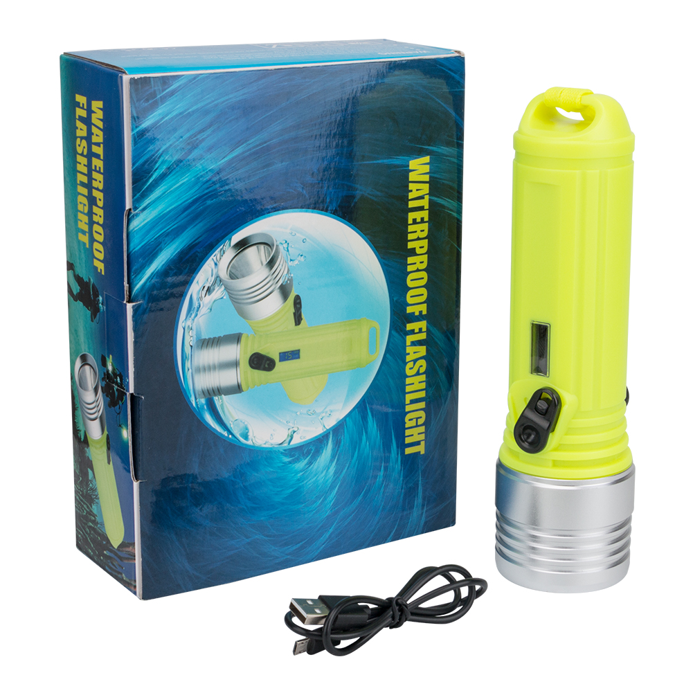 3 Mode XM-L2 LED Diving Flashlight Waterproof IPX-68 Dive Underwater 100 Meter Torch Lamp Light USB Charging Diving Light