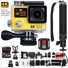 """Original câmera esporte h3r ultra 4 k hd 2.0 """"dual screen câmera de ação à prova d' água 30 m ir pro estilo câmera de vídeo + xiaomi yi monopé"""