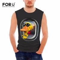 FORUDESIGNS Funny 3D Duck Pattern Black Grey Print Vests For Male Bodybuilding Tank Tops Brand Clothing